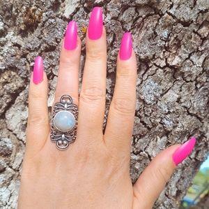 Big Ornate Moonstone .925 Rings NWOT